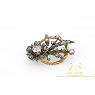 Diamanten Bloem Broche in 14 karaat Goud en Zilver