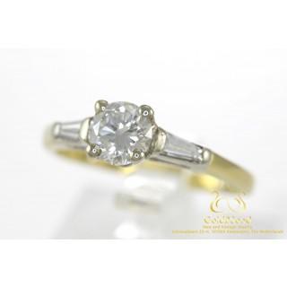 0.99 CT Diamanten Ring 18 karaat 0.75 + 2 x 0.12 Caraat