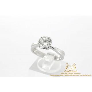 2 Carat diamanten ring witgoud 18 karaat