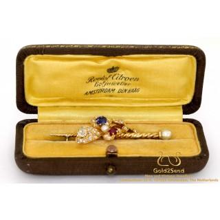 Diamanten Broche geelgoud met blauwe saffieren robijn en parel