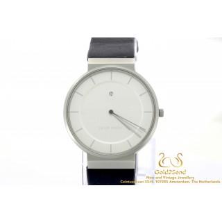 Jacob Jensen 881 steel leather watch