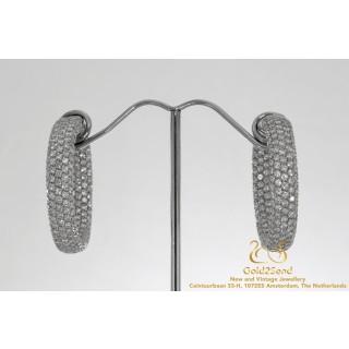 Leo Pizzo 7 CT Diamond Hoop Earrings 18 Karat White Gold
