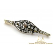 Art Deco Opengewerkt Staafbroche met Diamanten in 14 karaat Goud