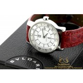 Bulgari Solotempo ST29S Steel 29mm Red Leather strap