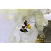Barnsteen Amber Tricolor Flower zilveren ring
